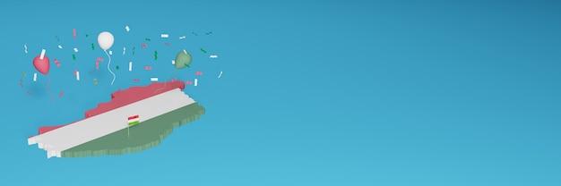Rendu de carte 3d du drapeau de la hongrie pour les médias sociaux et le site web de couverture