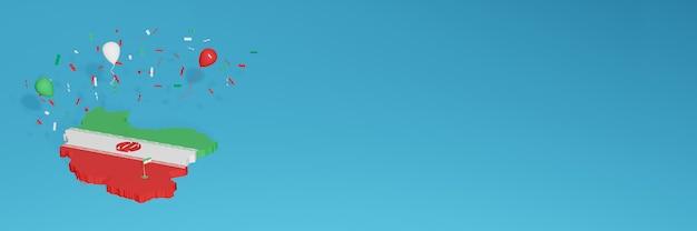 Rendu de carte 3d du drapeau de l'iran pour les médias sociaux et le site web de couverture