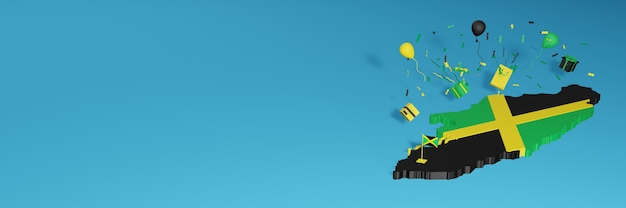 Rendu de carte 3d du drapeau de la jamaïque pour célébrer la journée nationale du shopping et la fête de l'indépendance