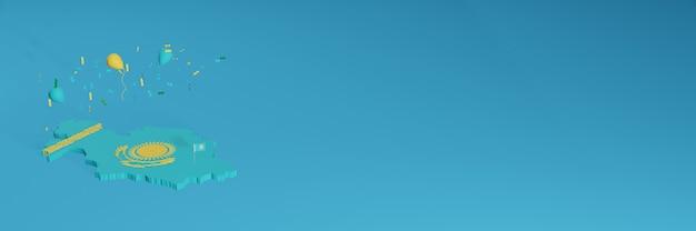 Rendu de carte 3d du drapeau kazakshtan pour les médias sociaux et le site web de couverture