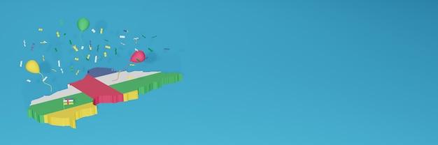 Rendu de carte 3d du drapeau de la république centrafricaine pour les médias sociaux et le site web de couverture