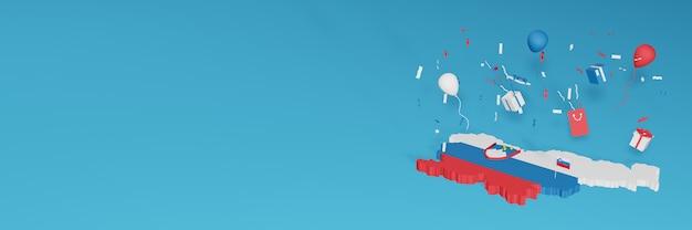 Rendu de carte 3d du drapeau de la slovénie pour célébrer la journée nationale du shopping et la fête de l'indépendance