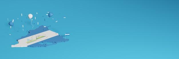 Le rendu de la carte 3d a fusionné avec le drapeau du pays du nicaragua pour les médias sociaux et l'arrière-plan du site web ajouté couvre des ballons bleus et blancs pour célébrer la fête de l'indépendance et la journée nationale du shopping