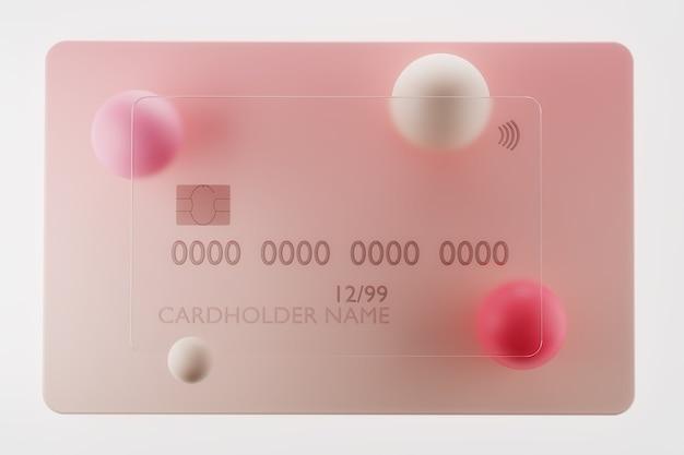 D rendu de carte de crédit en verre transparent sur fond rose