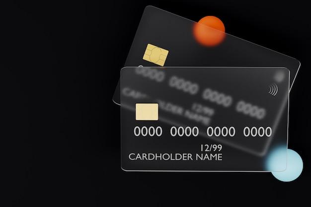 D rendu des cartes de crédit en verre transparent sur fond sombre