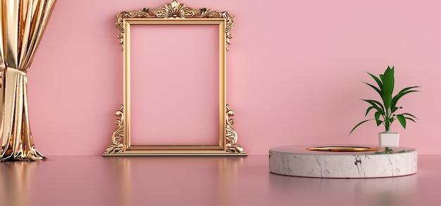 Rendu de cinéma de la salle rose avec affichage de maquette d'affiche de cadre doré
