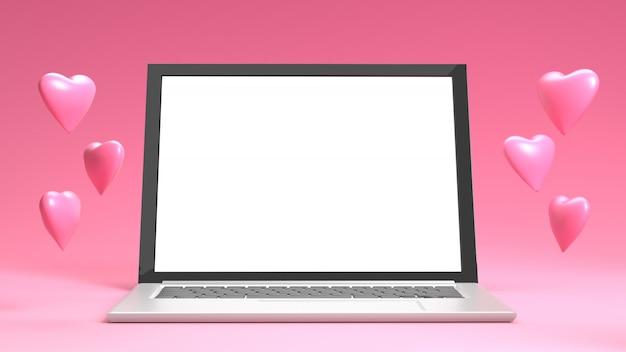 Rendu de coeur en saint valentin avec ordinateur portable sur fond rose pastel