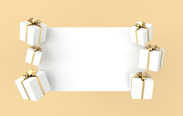 Rendu de coffret cadeau blanc avec noeud de ruban doré et papier blanc sur