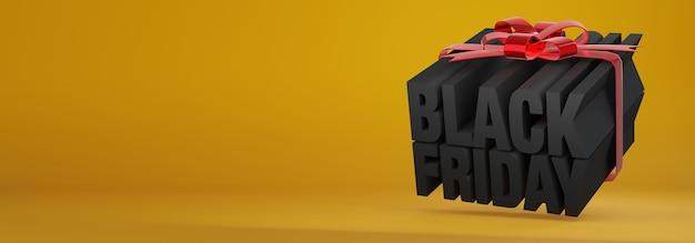 Rendu de concept de boîte cadeau 3d pour vente vendredi noir avec des lettres noires attachées avec des rubans rouges