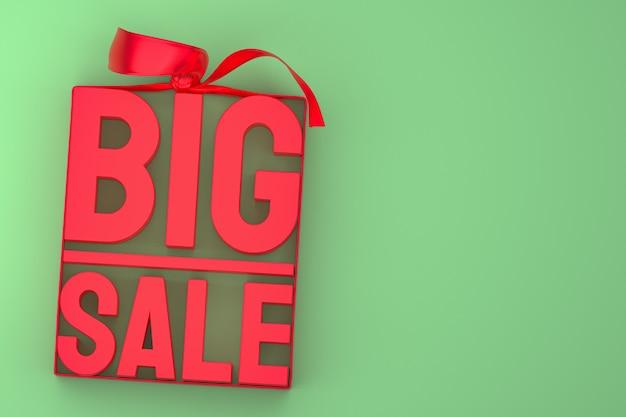 Rendu de conception 3d de grande vente rouge pour la promotion de vente avec l'arc et le ruban sur le fond d'isolement vert