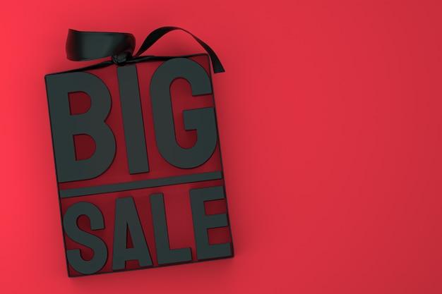 Rendu de conception 3d noir grande vente pour la promotion de la vente avec arc et ruban sur fond isolé rouge