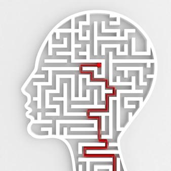 Rendu de la connexion de l'entrée du cerveau avec labyrinthe dans la tête
