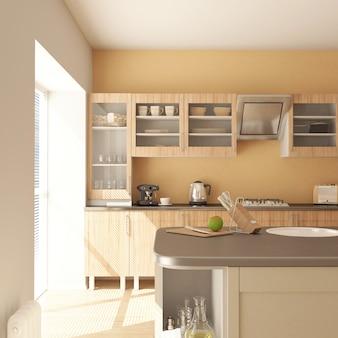 Rendu de cuisine 3d contemporaine