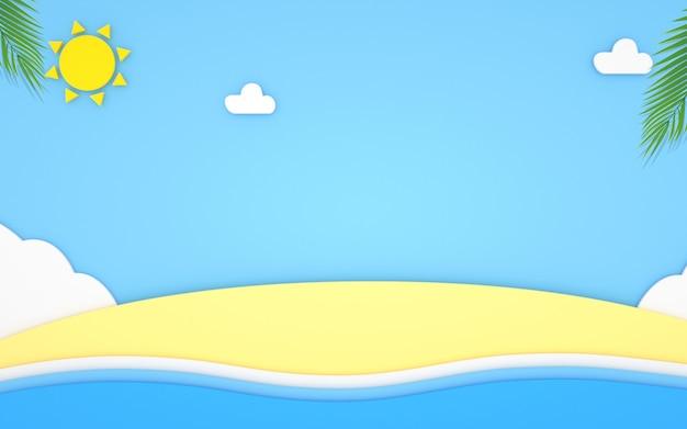 D rendu du fond abstrait de la plage en été