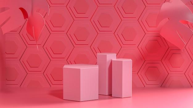 Rendu du mur rose hexagonal avec podium pour produit de stand