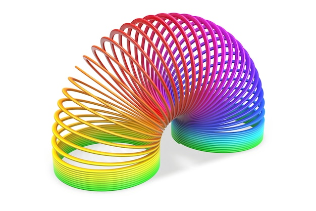 Rendu du ressort en spirale arc-en-ciel coloré en plastique jouet isolé
