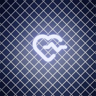 Rendu d'effet néon de signe de battement de coeur