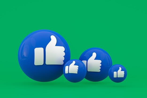 Rendu d'emoji de réactions facebook, symbole de ballon de médias sociaux avec motif d'icônes facebook