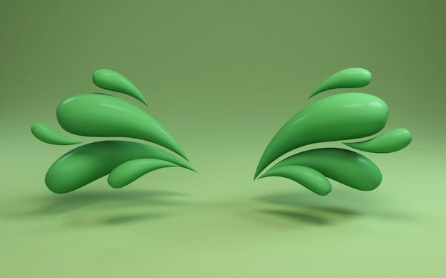 Rendu de fond 3d de cadre coloré gouttes vert liquide.