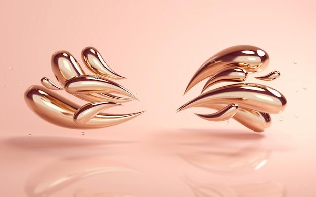 Rendu de fond 3d d'or coloré liquide tombe sur fond de nu