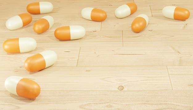 Rendu de fond 3d pilules orange éparpillées sur le plancher en bois pour le thème de la pharmacie des pages web