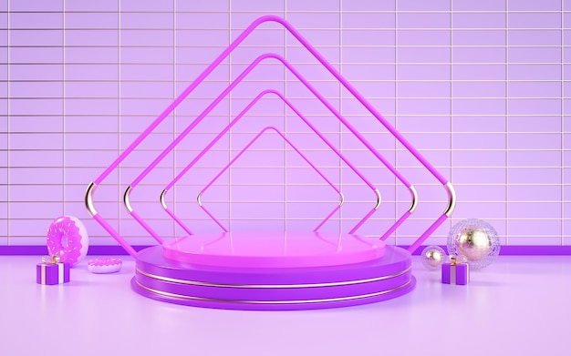 D rendu de fond géométrique abstrait avec un podium rond violet pour une présentation de produit