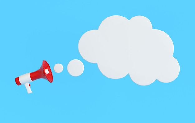 Rendu, haut-parleur, mégaphone, nuage, bulle
