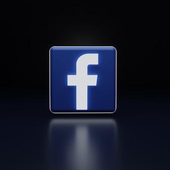 Rendu de haute qualité de l'icône du logo facebook 3d lueur
