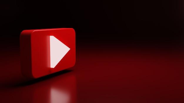 Rendu de haute qualité de l'icône du logo youtube 3d