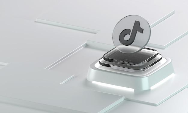 Le rendu de l'icône 3d de forme de géométrie de verre tiktok
