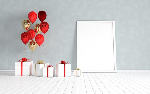 Rendu intérieur avec affiche de boîte cadeau ballons or et rouges dans la chambre