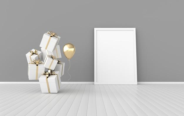 Rendu intérieur avec ballon de cadre affiche coffrets cadeaux