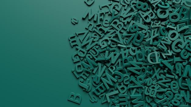 Rendu de lettres de l'alphabet essence verte 3d sur fond vert