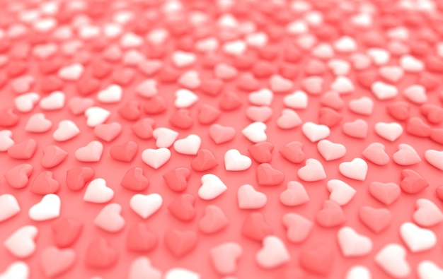 Rendu de modèle de coeurs de bonbons saint valentin