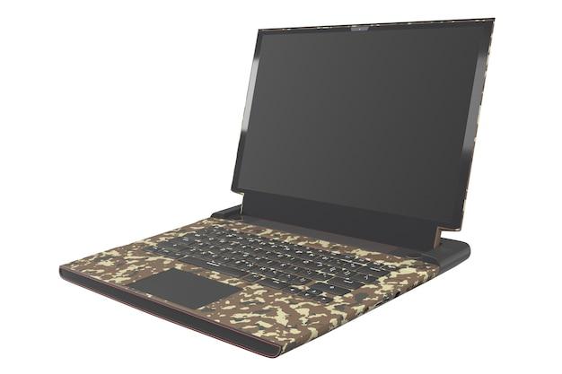 D rendu d'un ordinateur portable de jeu moderne avec des lumières rvb isolées sur blanc
