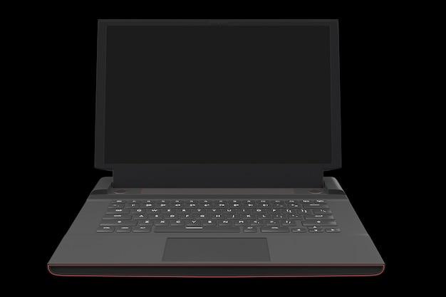 D rendu d'un ordinateur portable de jeu moderne avec des lumières rvb isolées sur fond noir