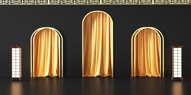 Rendu de la plate-forme géométrique abstraite avec des rideaux dorés pour le support de produit