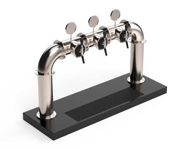 Rendu de pompe de tour à bière avec poignée et distributeur équipement pour bar illustration 3d réaliste