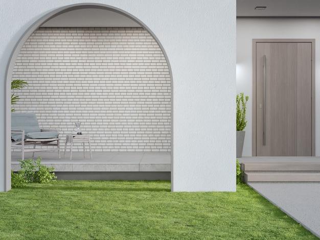 D rendu de la porte en arc sur la pelouse de l'herbe verte dans la maison moderne