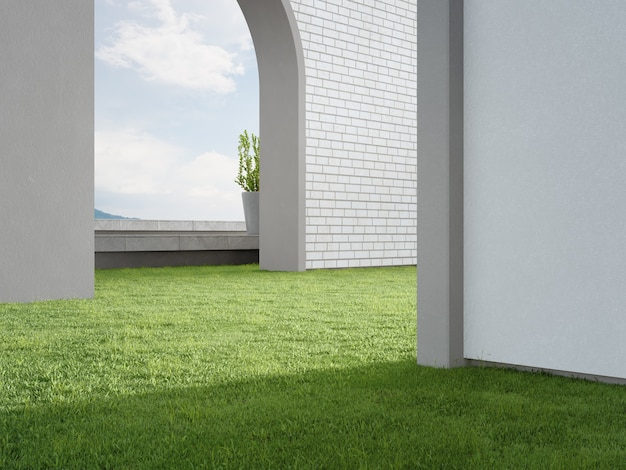 D rendu de la porte en arc sur la pelouse d'herbe verte avec vue sur la mer