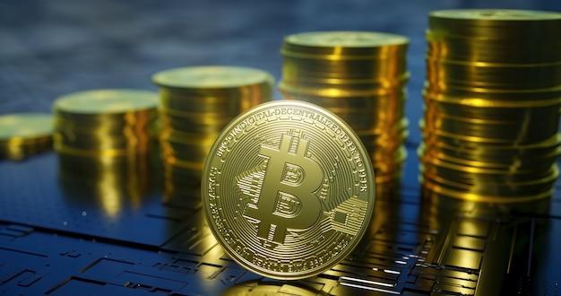 Rendu réaliste de bitcoin métallique avec des colonnes montantes de pièces en arrière-plan