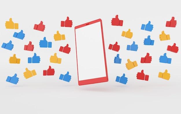 Rendu, réseau social, symbole, main, gros doigt, haut, et, smartphone, blanc