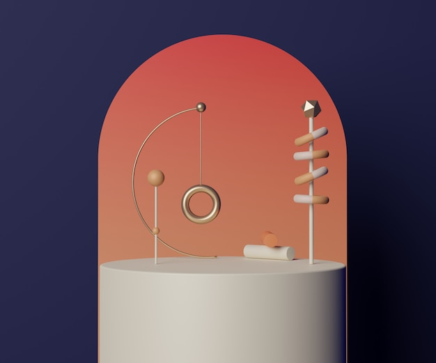 Rendu d'une scène de podium vide minimal avec des formes géométriques pour la présentation des produits
