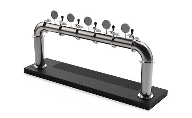 Rendu de la tour de la pompe à bière à cinq robinets avec poignée et distributeur illustration 3d isolée