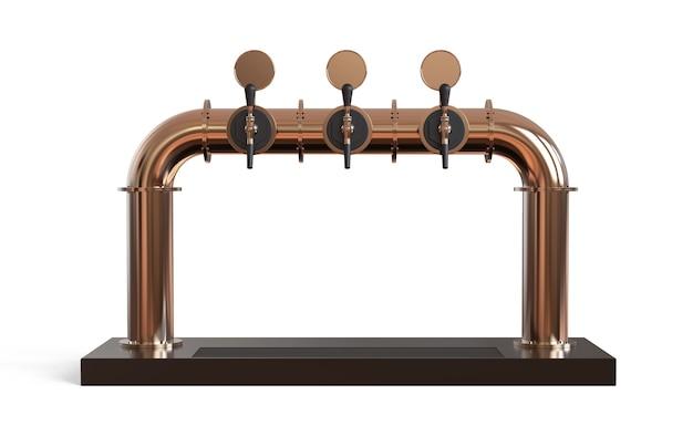 Rendu de la tour de pompe à bière avec poignée et distributeur équipement pour bar illustration 3d isolée