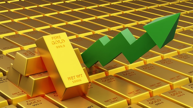 Rendu de trois d de barre d'or de brique d'or avec le concept financier graphique