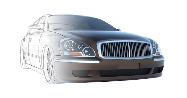 Rendu de voiture berline brune de luxe de la base technique du rendu 3d du modèle