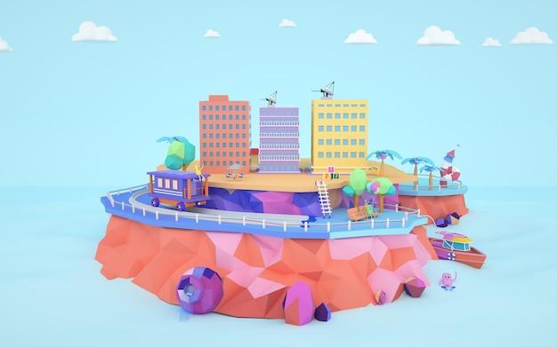 Rendus 3d du concept résidentiel de dessin animé au-dessus du sol