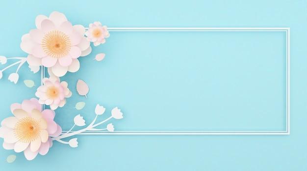 Rendus 3d de fond bleu clair abstrait avec des roses décoratives et des lignes carrées