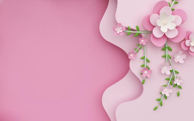 Rendus 3d de fond rose abstrait avec des fleurs décoratives sur les côtés